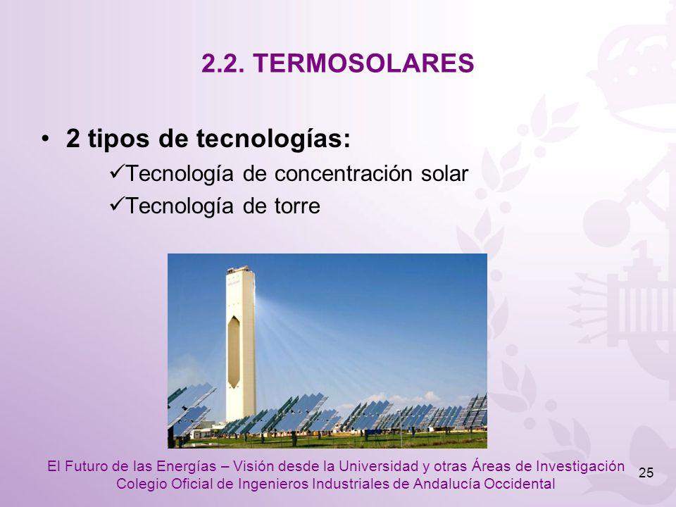 2.2. TERMOSOLARES 2 tipos de tecnologías: