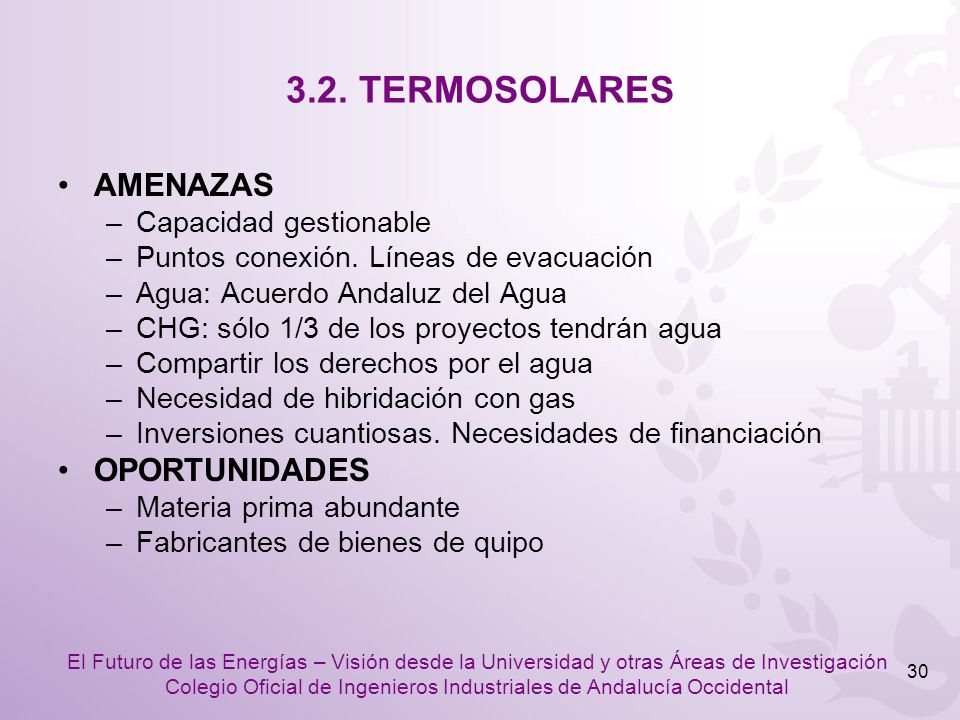 3.2. TERMOSOLARES AMENAZAS OPORTUNIDADES Capacidad gestionable