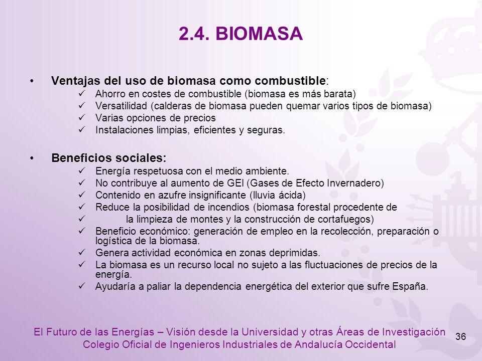 2.4. BIOMASA Ventajas del uso de biomasa como combustible: