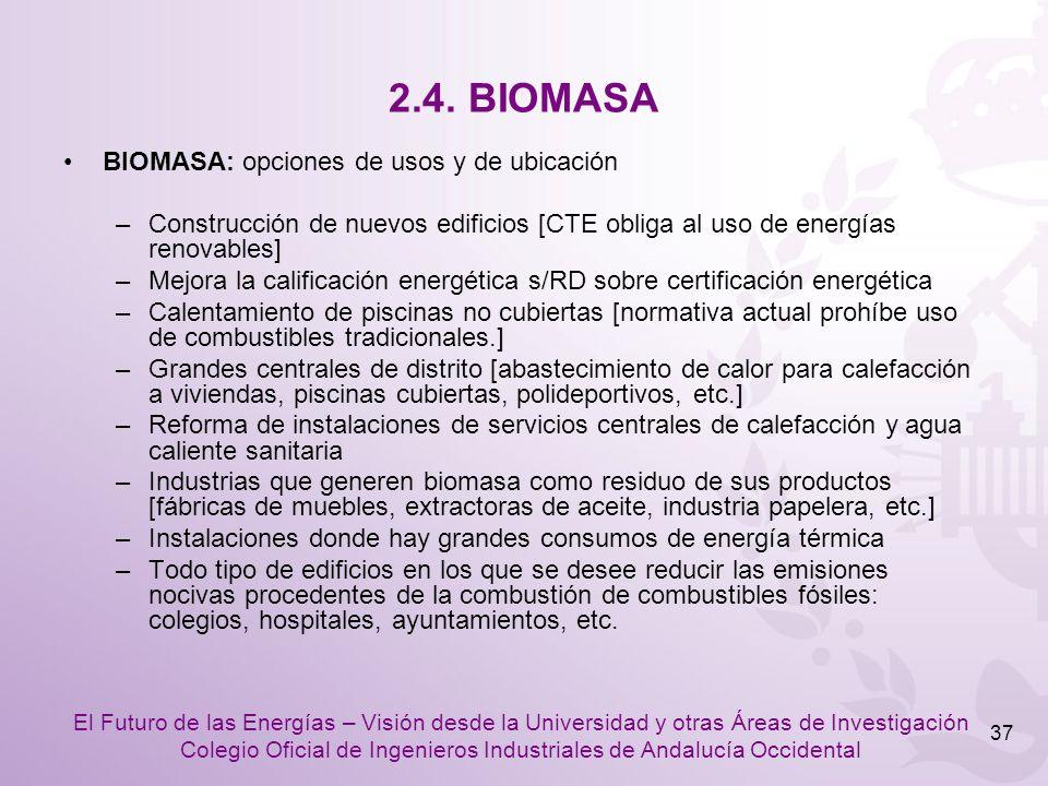 2.4. BIOMASA BIOMASA: opciones de usos y de ubicación