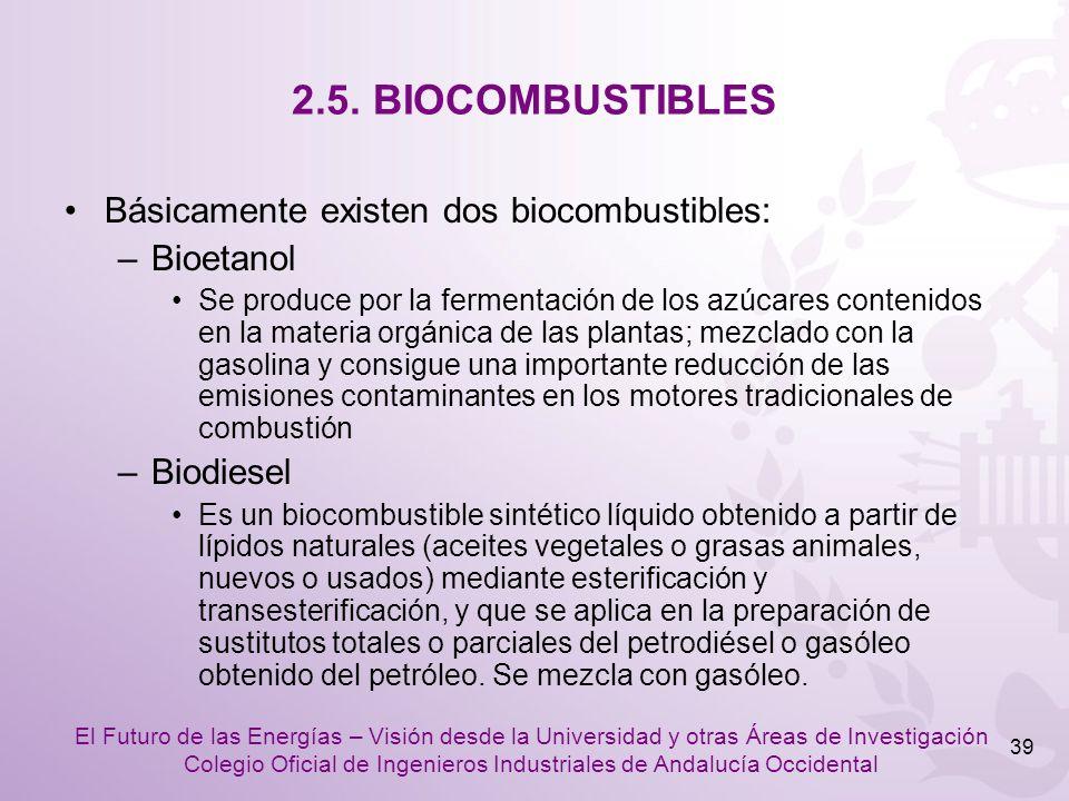 2.5. BIOCOMBUSTIBLES Básicamente existen dos biocombustibles:
