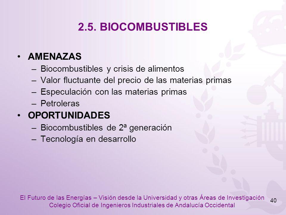 2.5. BIOCOMBUSTIBLES AMENAZAS OPORTUNIDADES
