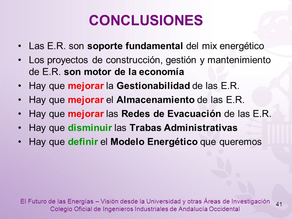 CONCLUSIONES Las E.R. son soporte fundamental del mix energético