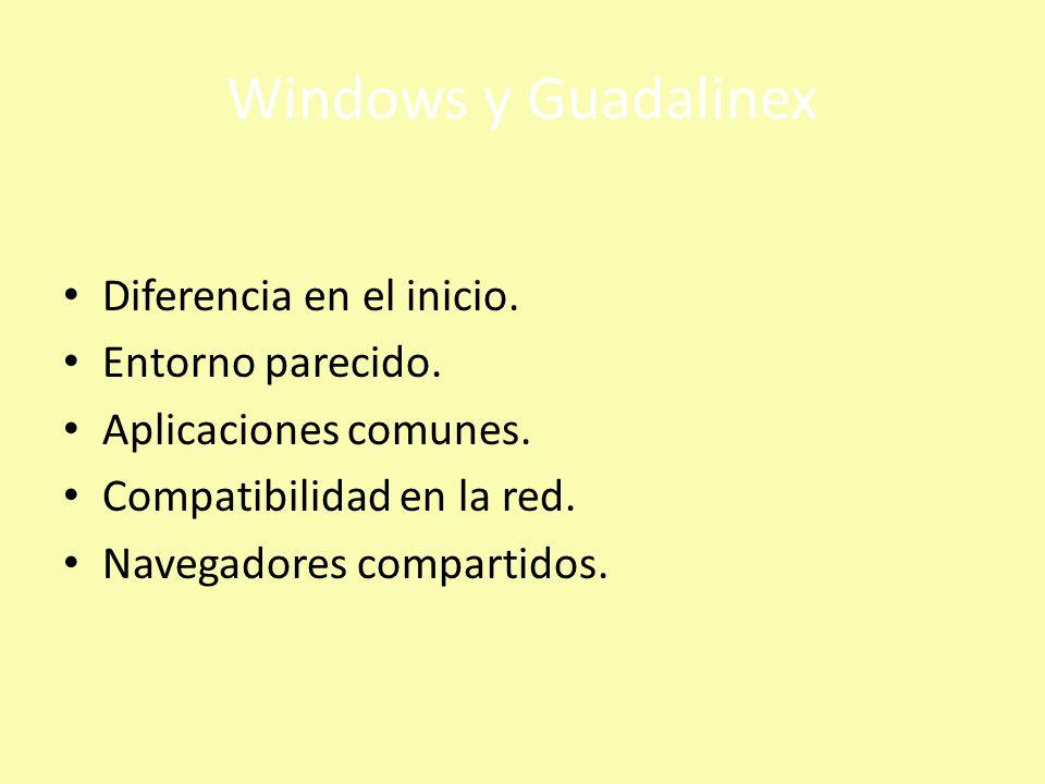 Windows y Guadalinex Diferencia en el inicio. Entorno parecido.