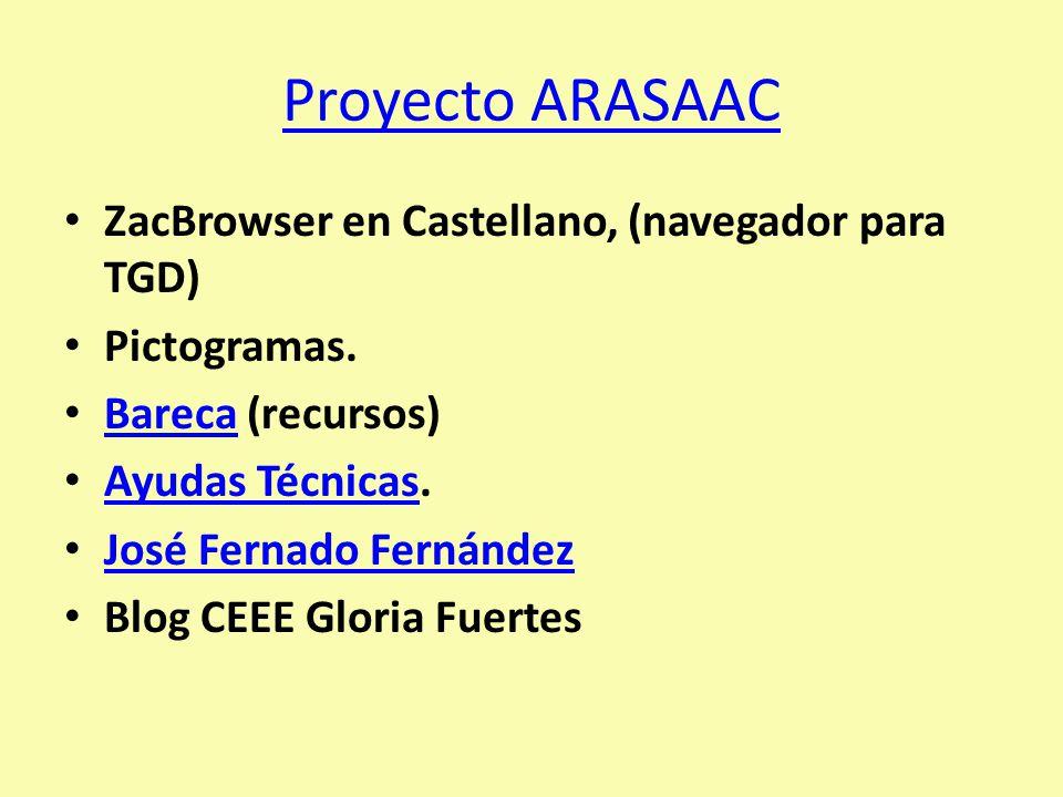 Proyecto ARASAAC ZacBrowser en Castellano, (navegador para TGD)