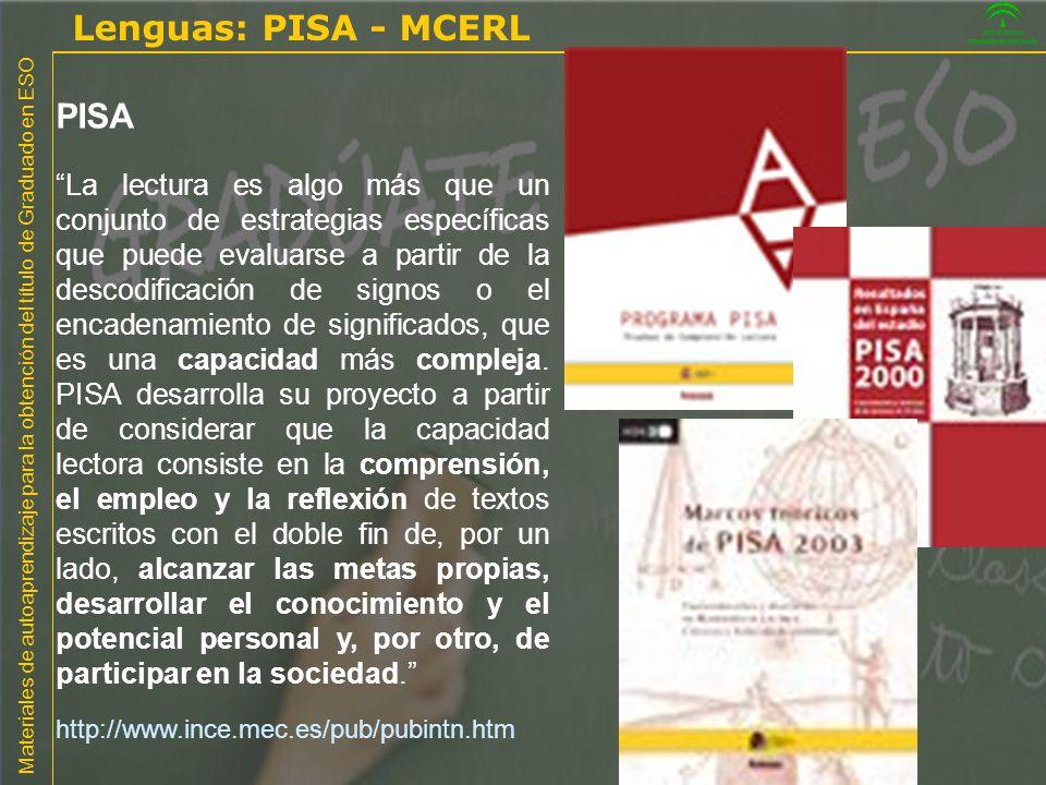 Lenguas: PISA - MCERL PISA