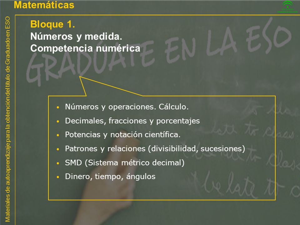 Bloque 1. Matemáticas Números y medida. Competencia numérica