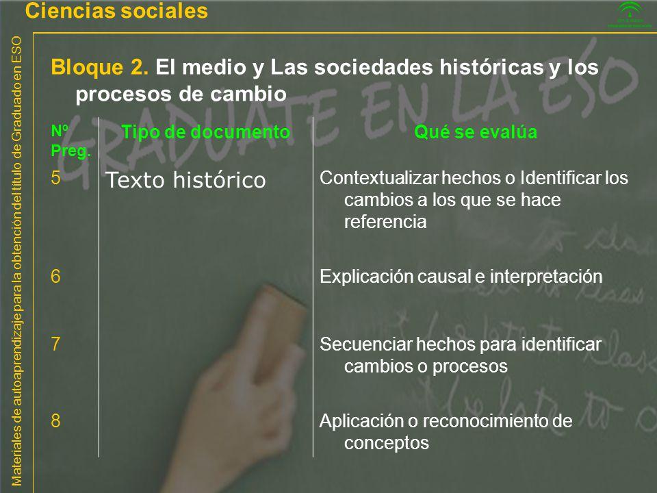Ciencias sociales Bloque 2. El medio y Las sociedades históricas y los procesos de cambio. Nº. Preg.
