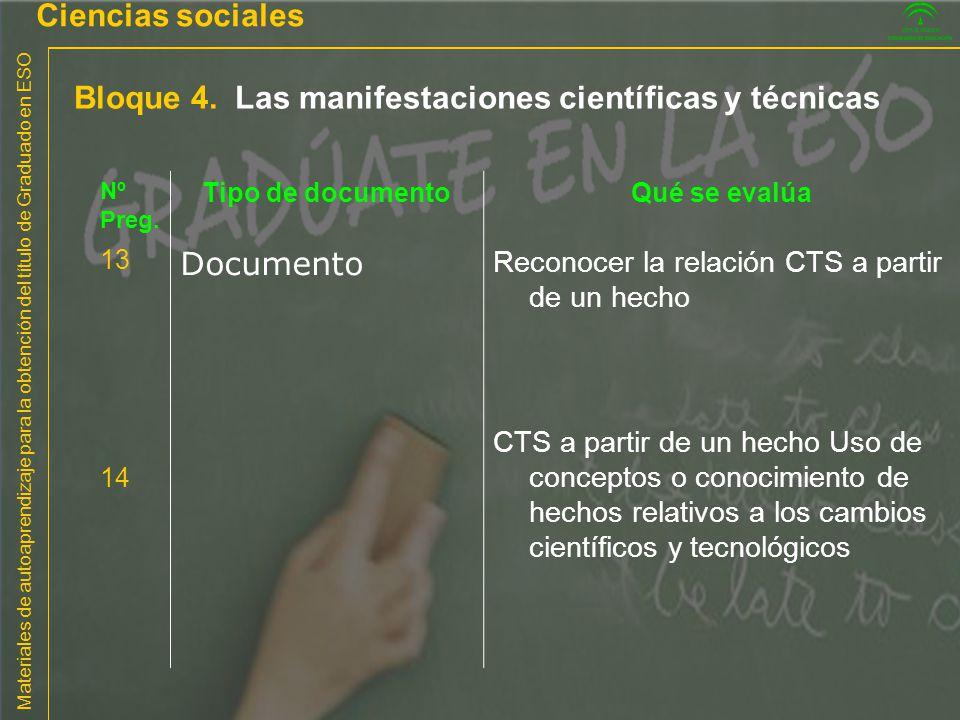 Bloque 4. Las manifestaciones científicas y técnicas
