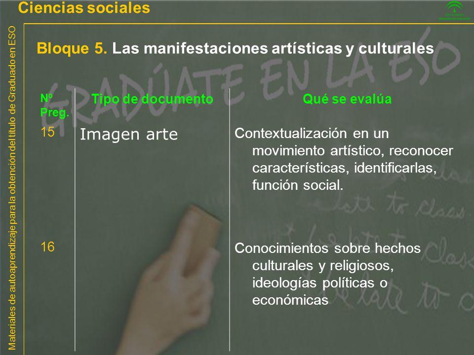 Bloque 5. Las manifestaciones artísticas y culturales