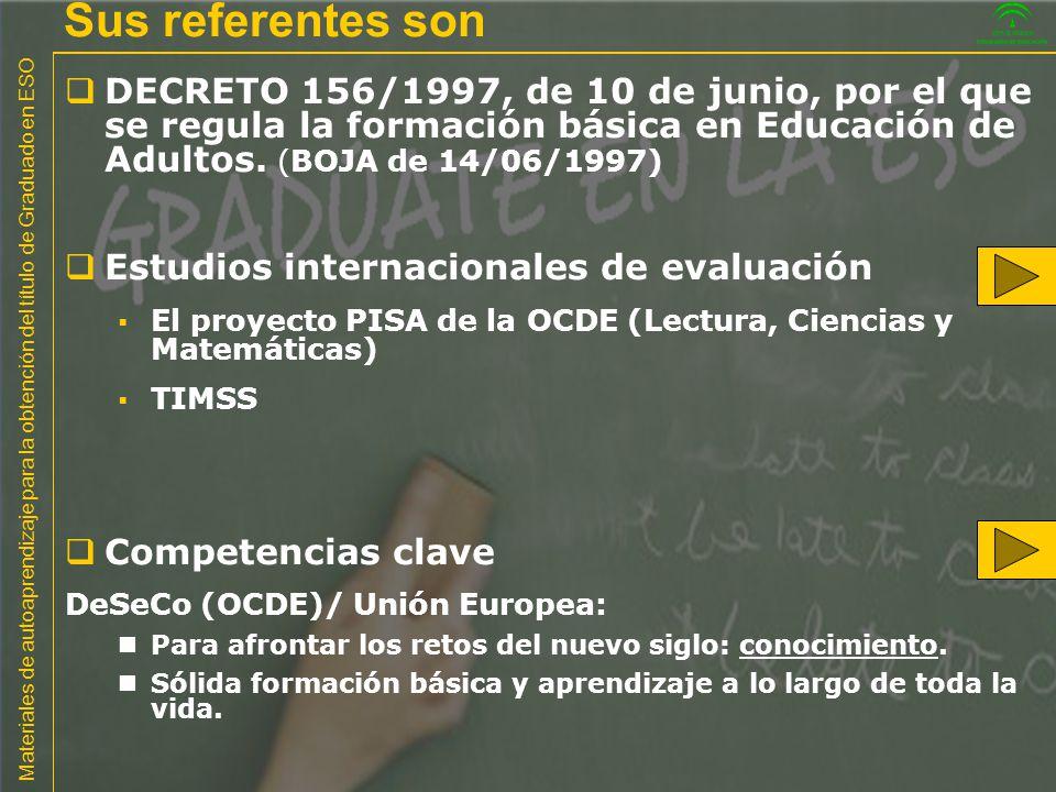 Sus referentes son DECRETO 156/1997, de 10 de junio, por el que se regula la formación básica en Educación de Adultos. (BOJA de 14/06/1997)