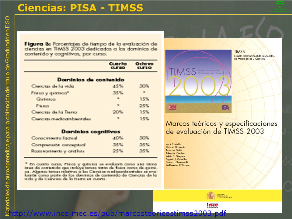 Ciencias: PISA - TIMSS 01/04/2017 http://www.ince.mec.es/pub/marcosteoricostimss2003.pdf