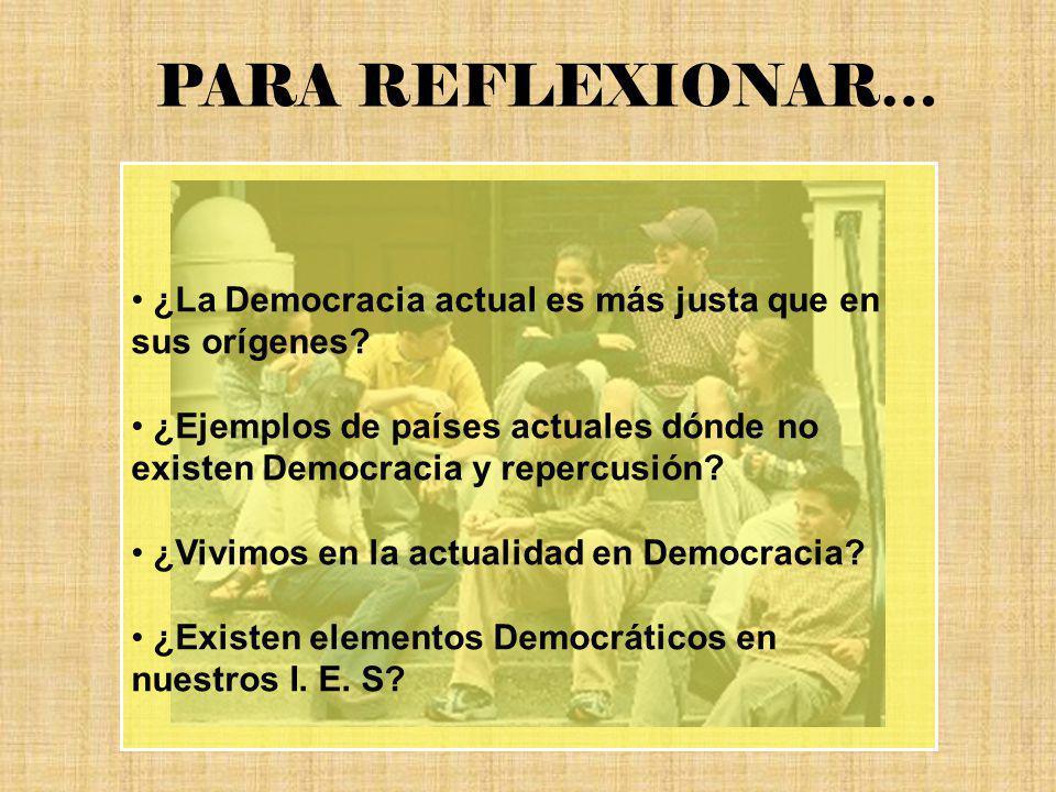 PARA REFLEXIONAR… ¿La Democracia actual es más justa que en sus orígenes ¿Ejemplos de países actuales dónde no existen Democracia y repercusión