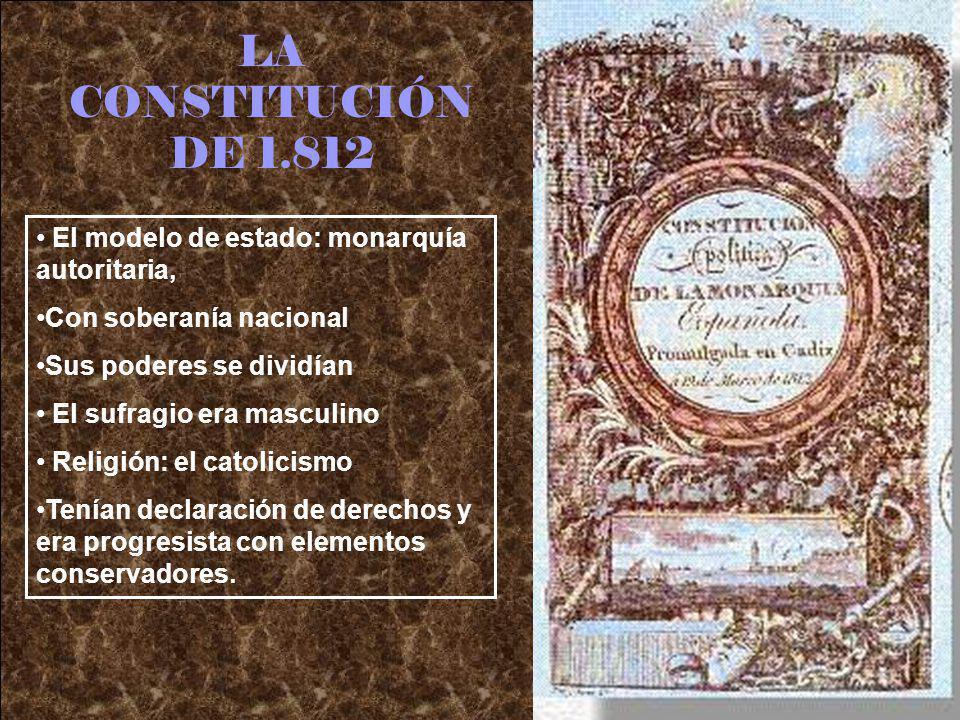 LA CONSTITUCIÓN DE 1.812 El modelo de estado: monarquía autoritaria,