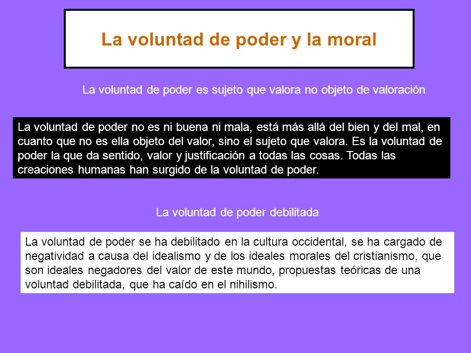 La voluntad de poder y la moral