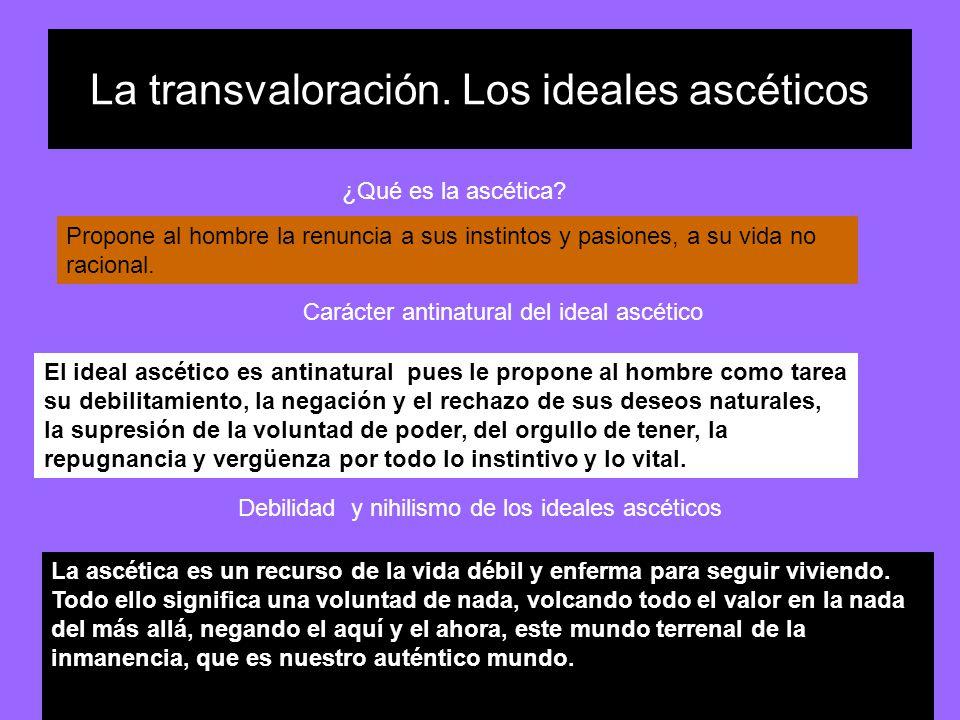 La transvaloración. Los ideales ascéticos