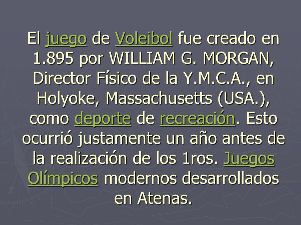El juego de Voleibol fue creado en 1. 895 por WILLIAM G