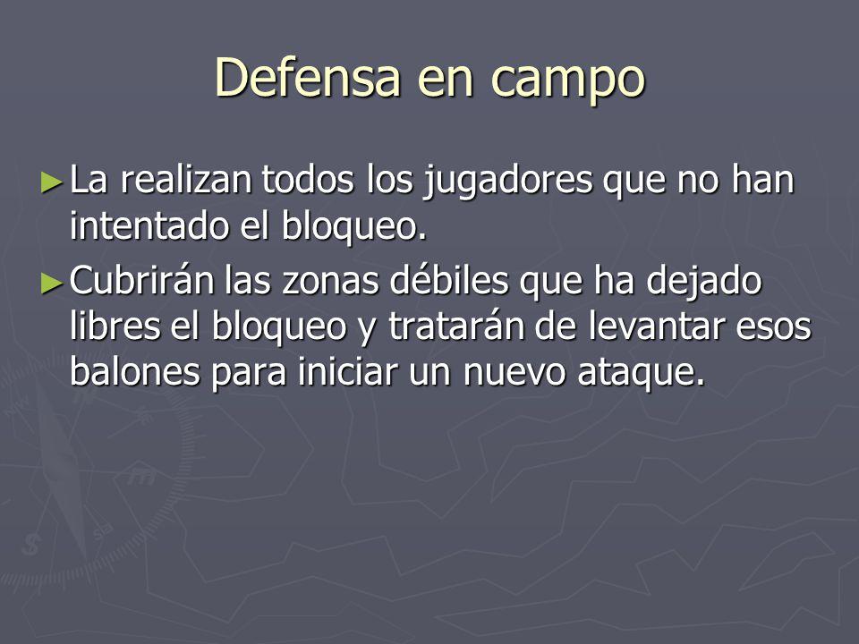 Defensa en campo La realizan todos los jugadores que no han intentado el bloqueo.