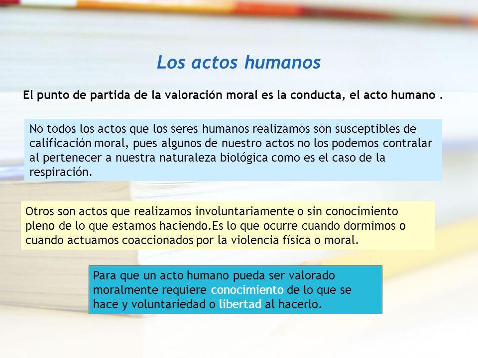 Los actos humanos El punto de partida de la valoración moral es la conducta, el acto humano .