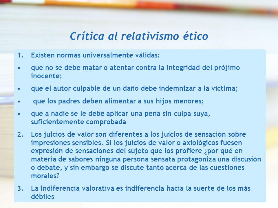 Crítica al relativismo ético