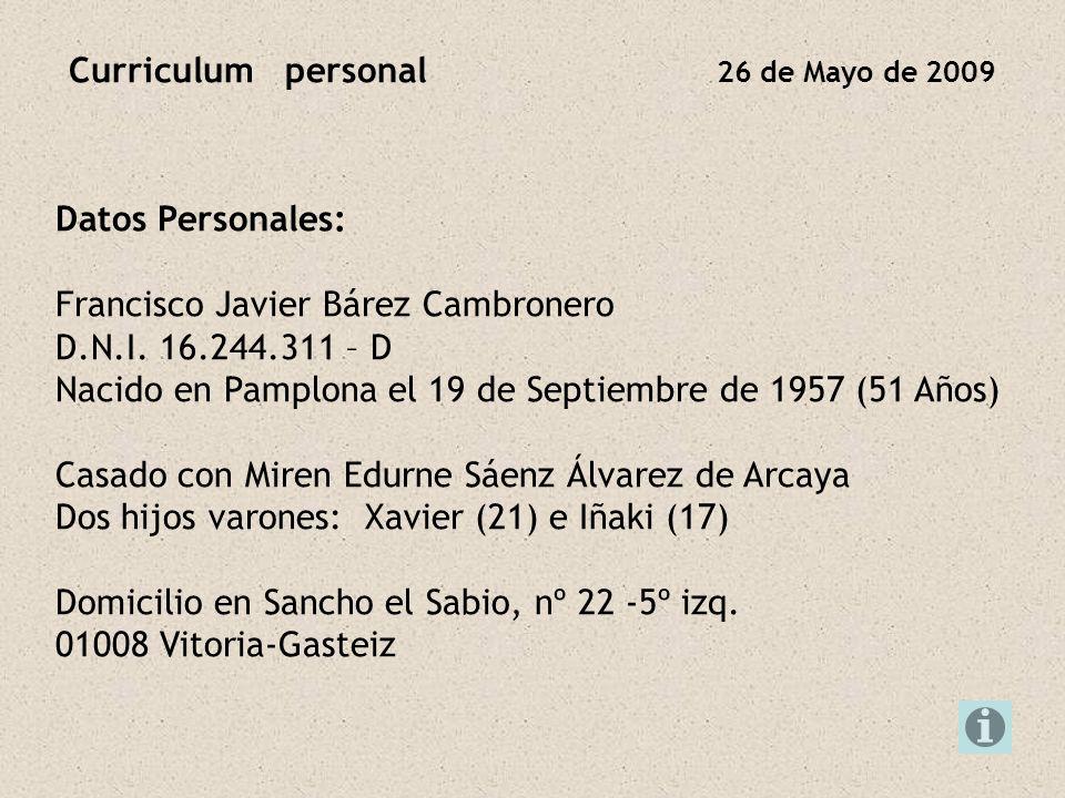 Curriculum personal 26 de Mayo de 2009