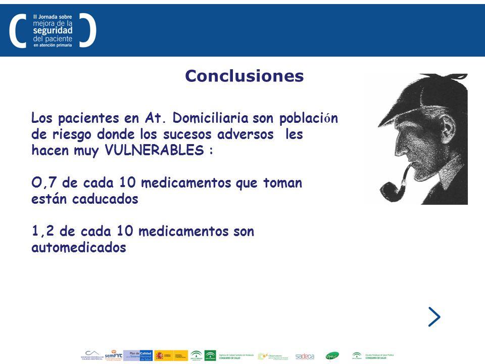 Conclusiones Los pacientes en At. Domiciliaria son población de riesgo donde los sucesos adversos les hacen muy VULNERABLES :