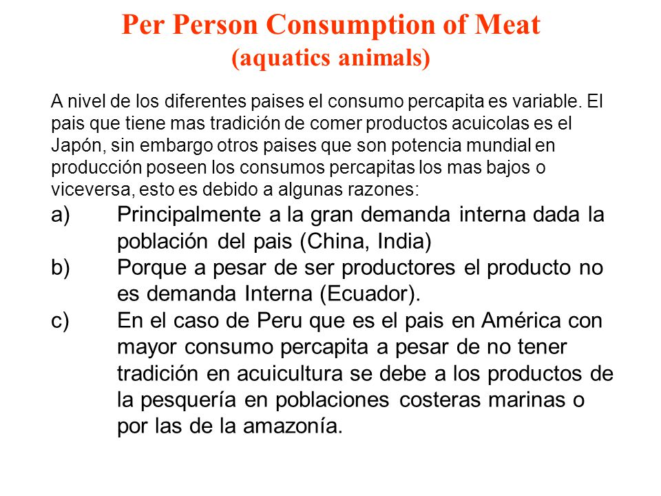 Per Person Consumption of Meat