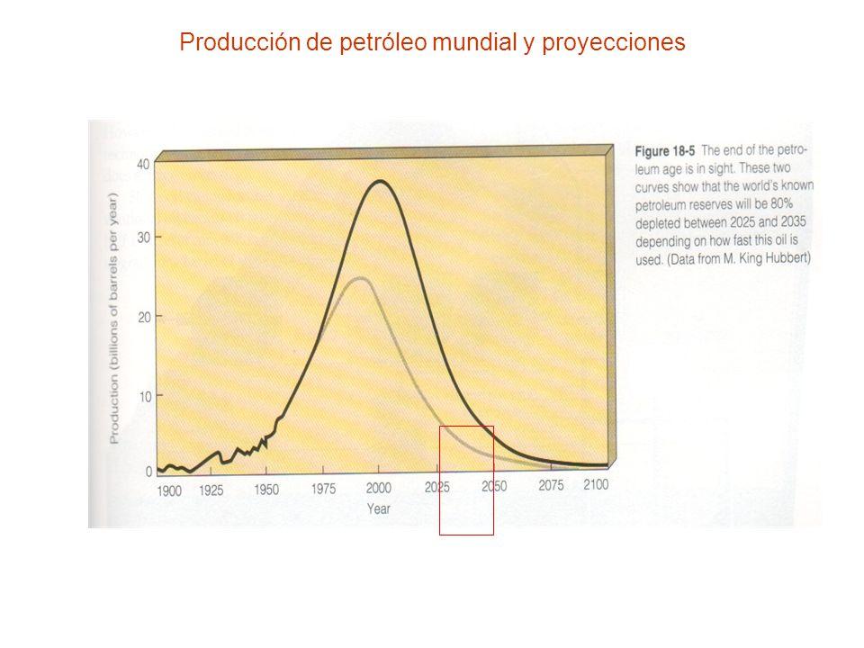 Producción de petróleo mundial y proyecciones