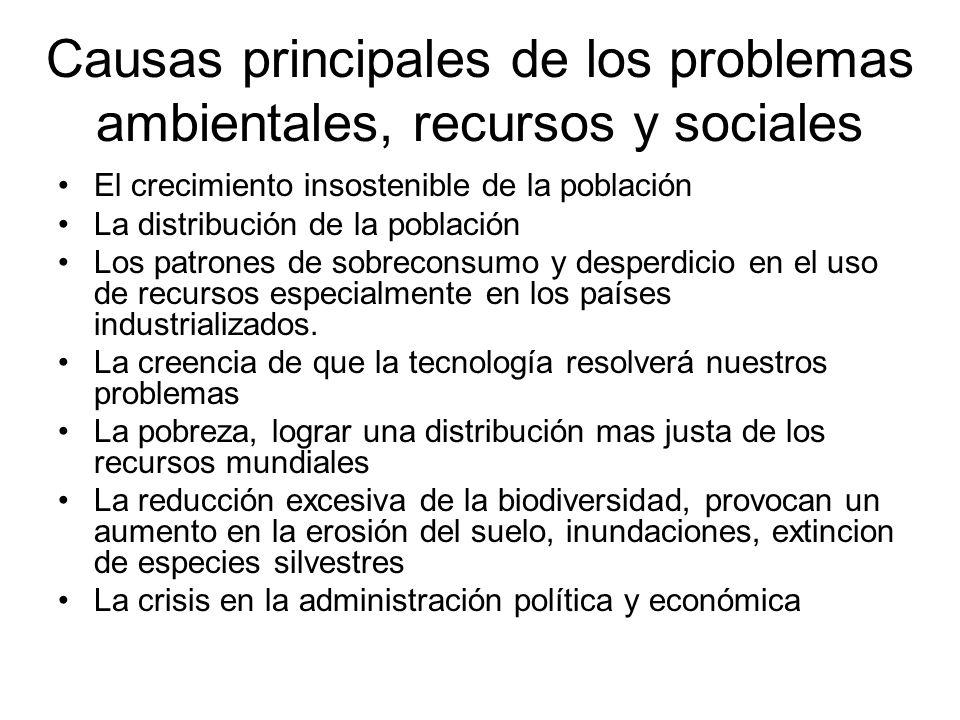 Causas principales de los problemas ambientales, recursos y sociales