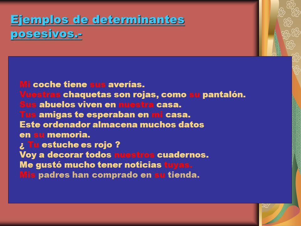 Ejemplos de determinantes posesivos.-