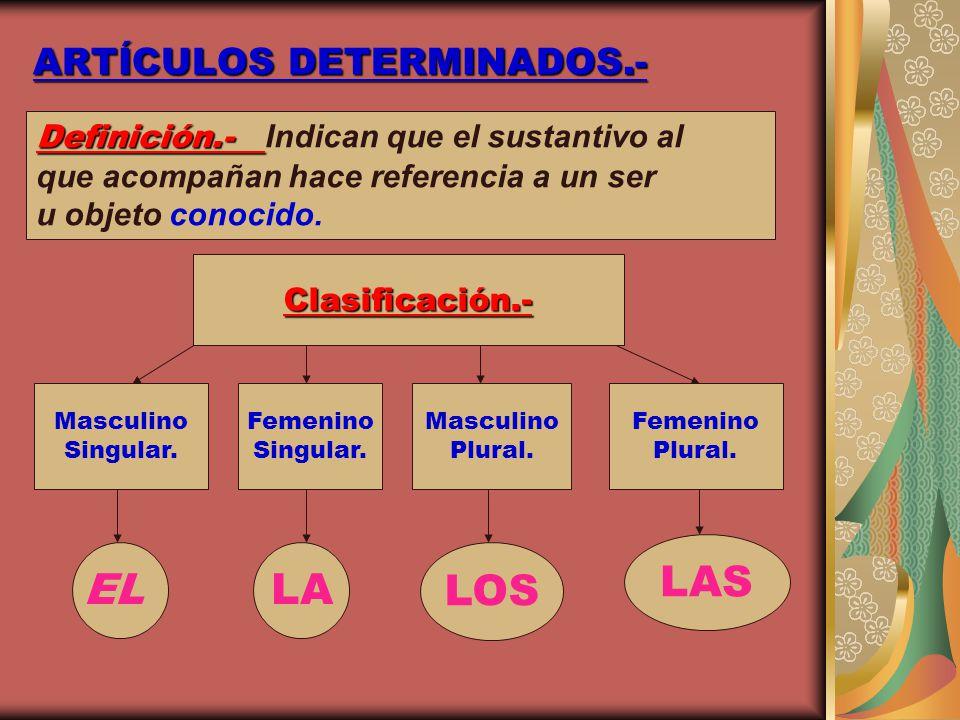 ARTÍCULOS DETERMINADOS.-