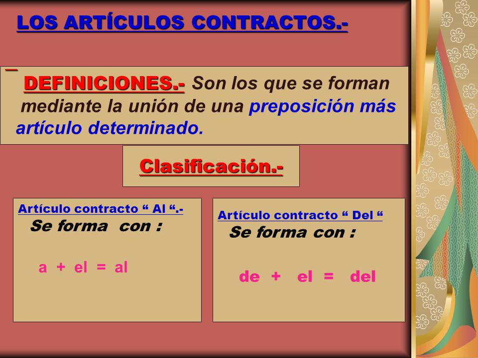 LOS ARTÍCULOS CONTRACTOS.-