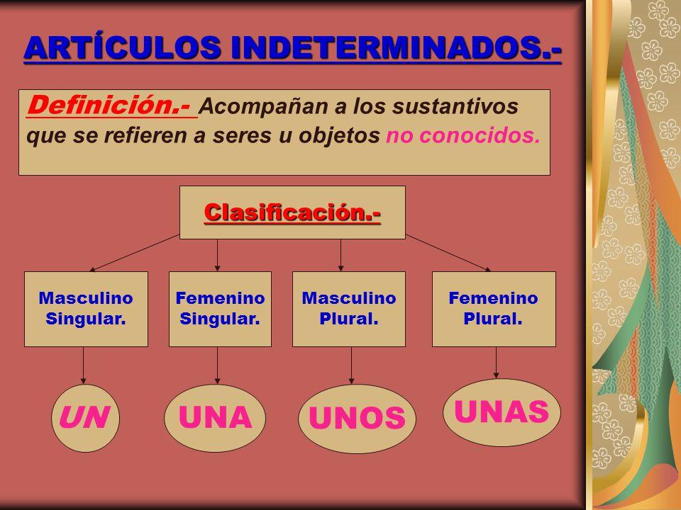 ARTÍCULOS INDETERMINADOS.-