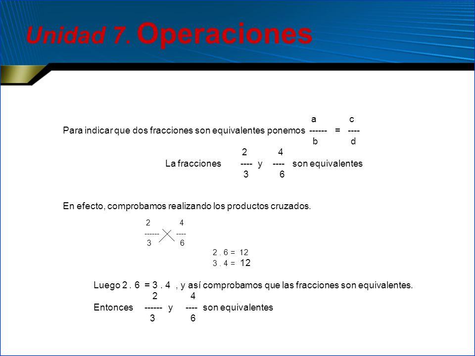 Unidad 7. Operaciones a c. Para indicar que dos fracciones son equivalentes ponemos ------ = ----