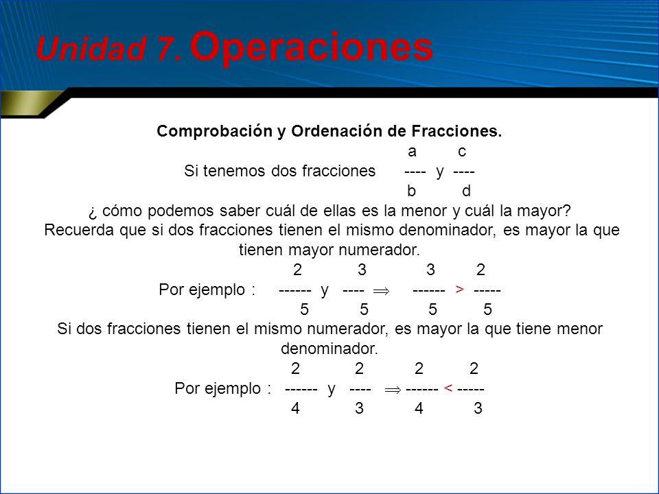 Unidad 7. Operaciones Comprobación y Ordenación de Fracciones. a c