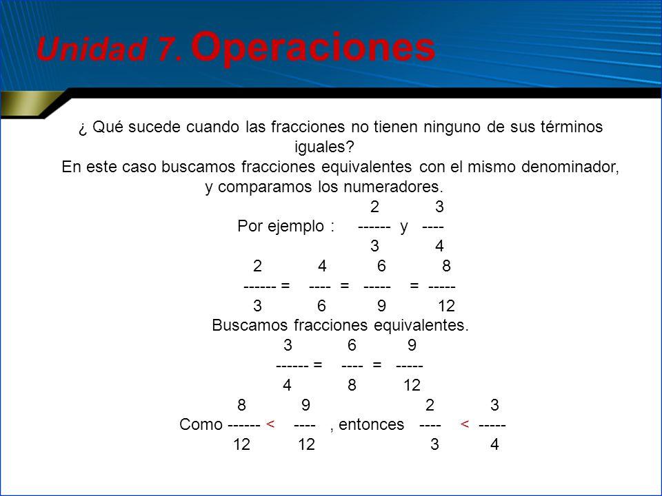 Unidad 7. Operaciones ¿ Qué sucede cuando las fracciones no tienen ninguno de sus términos iguales