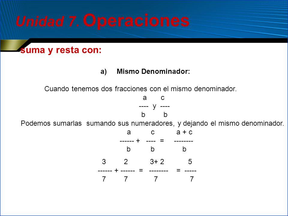 Unidad 7. Operaciones suma y resta con: Mismo Denominador: