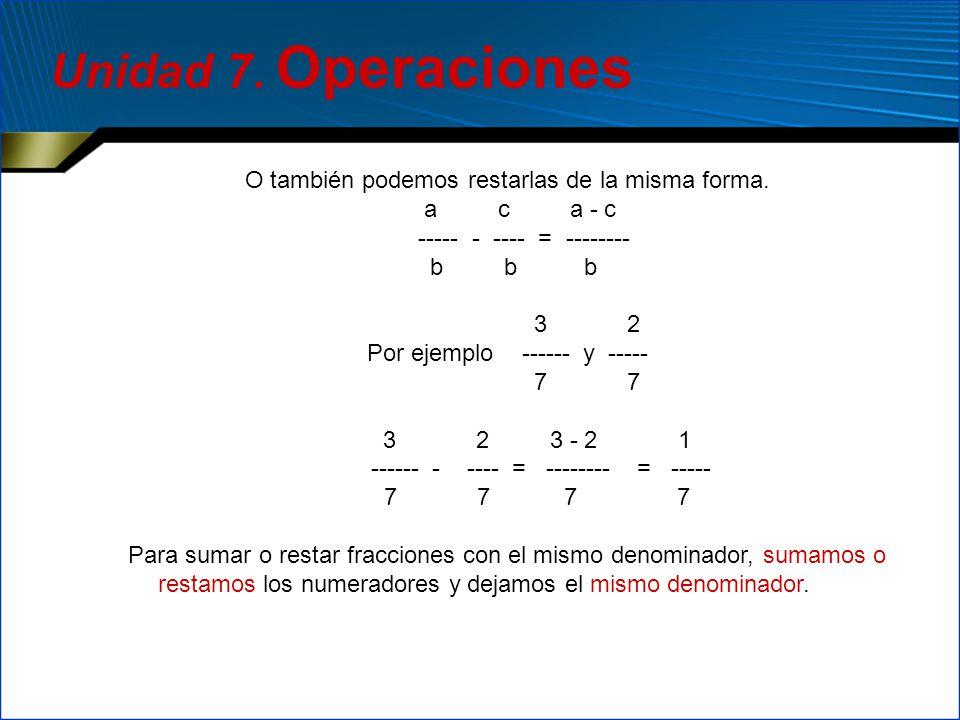 Unidad 7. Operaciones O también podemos restarlas de la misma forma.