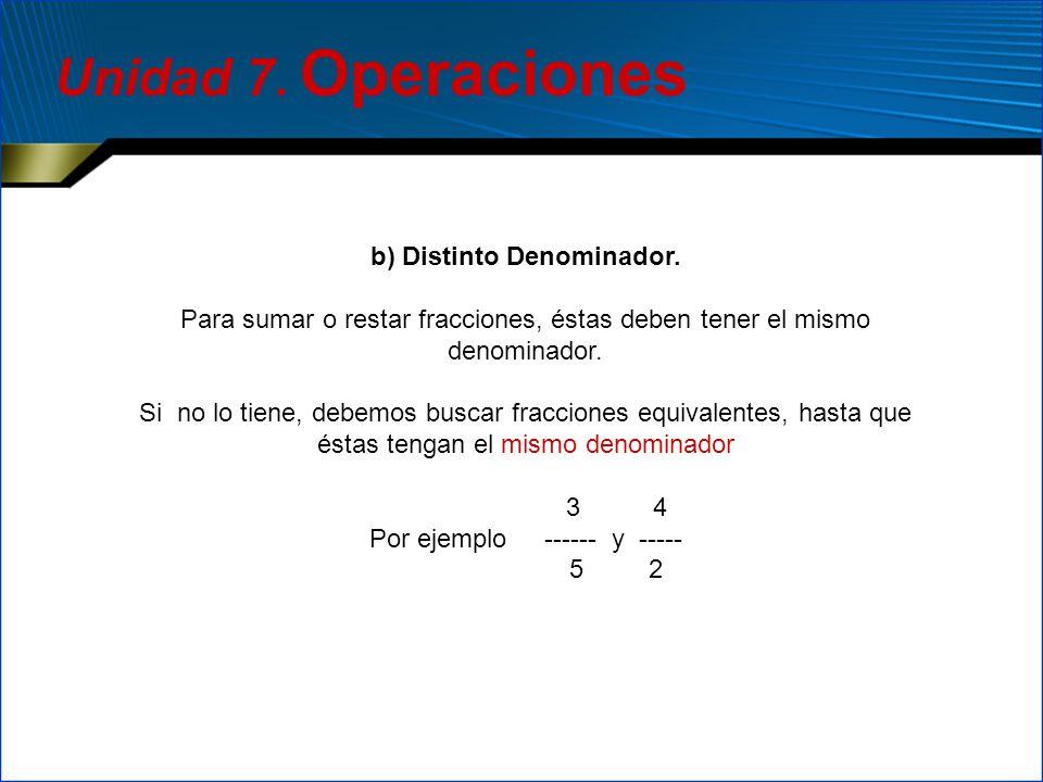 b) Distinto Denominador.