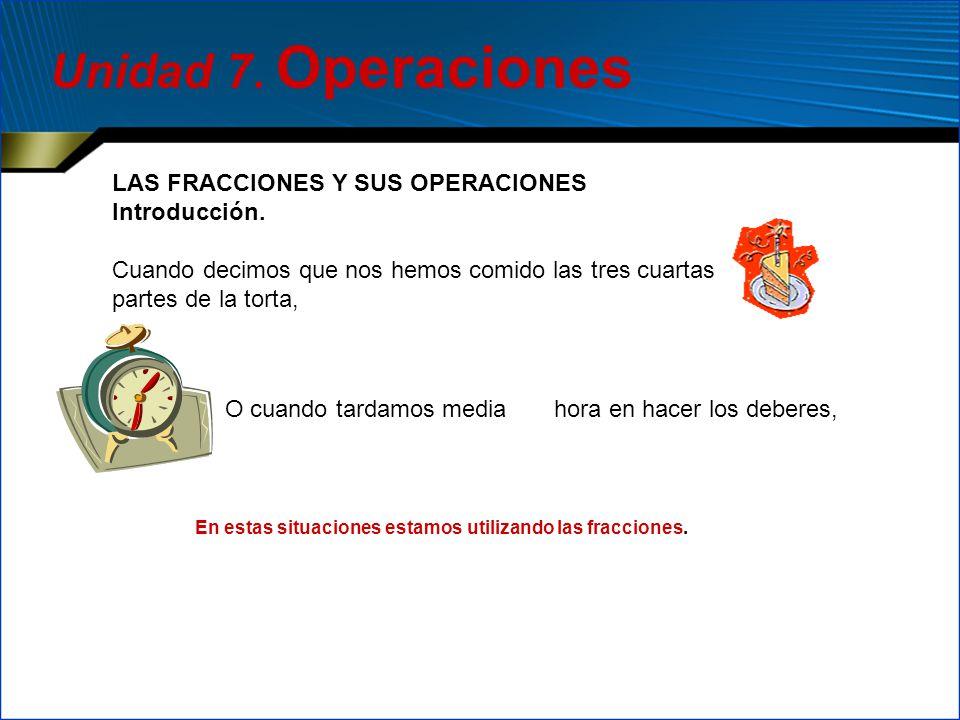 Unidad 7. Operaciones LAS FRACCIONES Y SUS OPERACIONES Introducción.