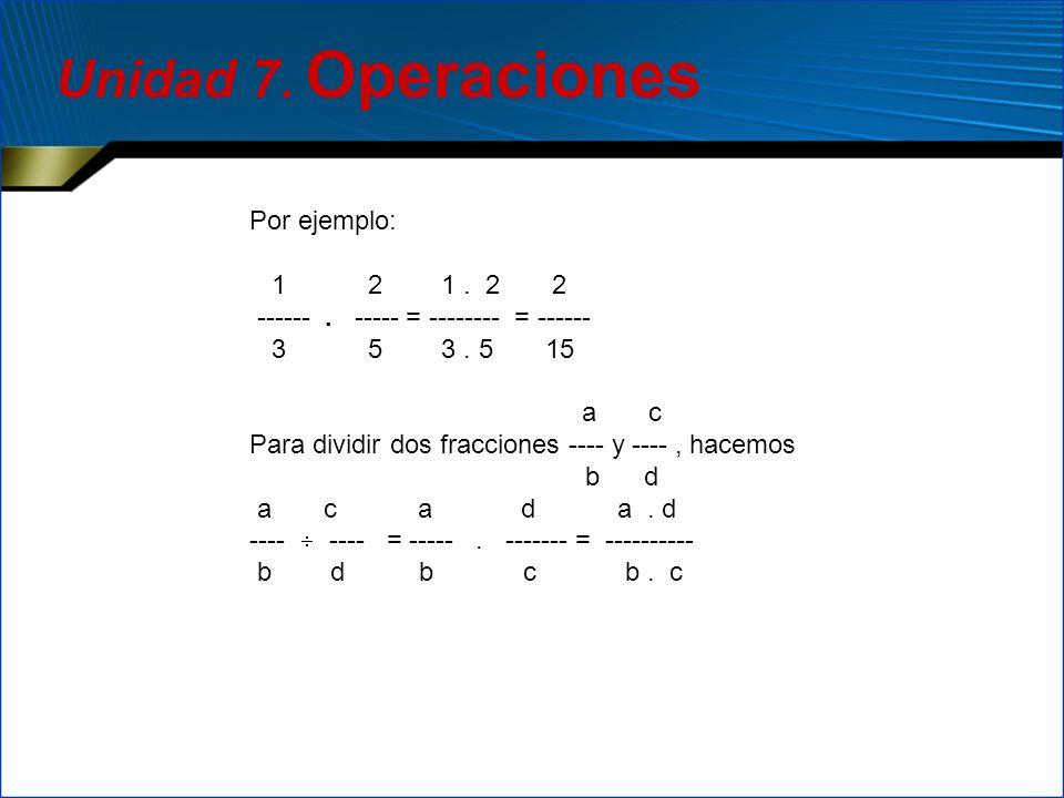 Unidad 7. Operaciones Por ejemplo: 1 2 1 . 2 2