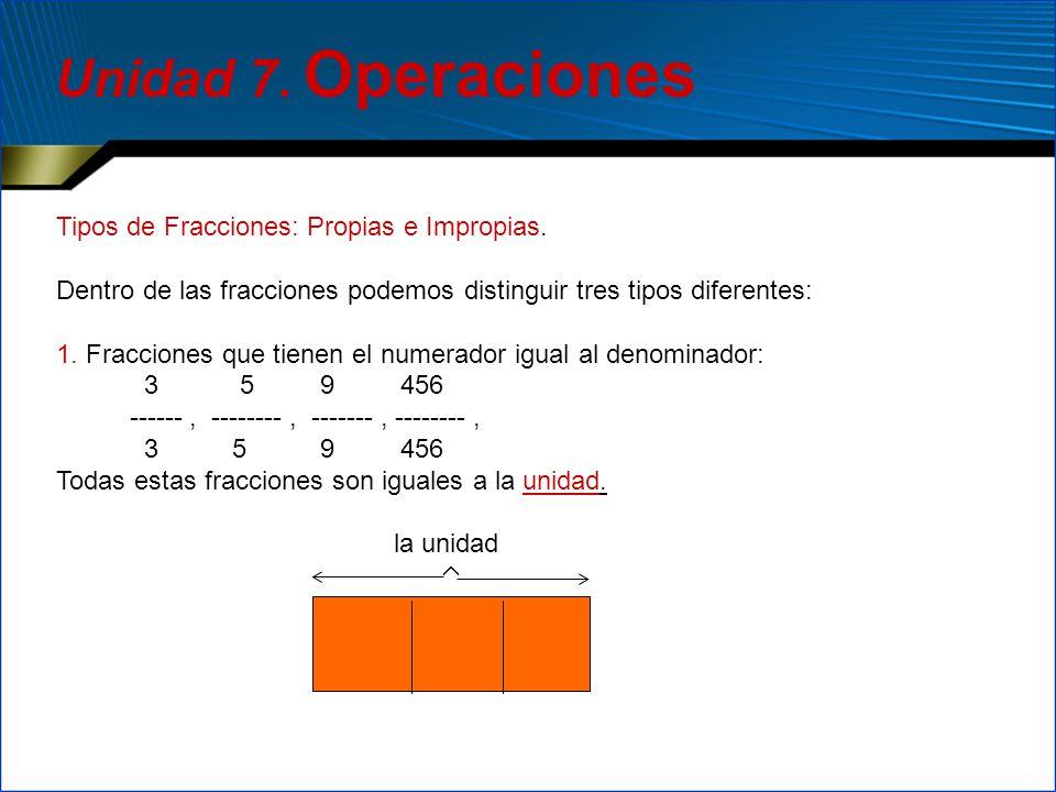 Unidad 7. Operaciones Tipos de Fracciones: Propias e Impropias.