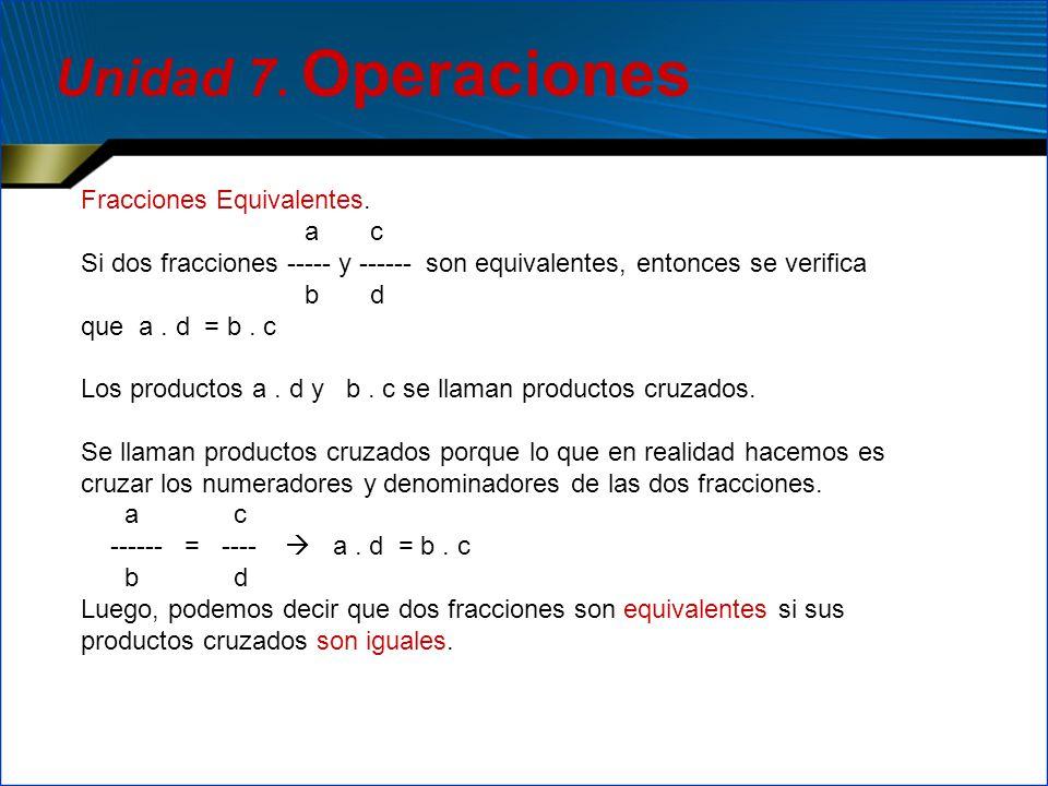 Unidad 7. Operaciones Fracciones Equivalentes. a c