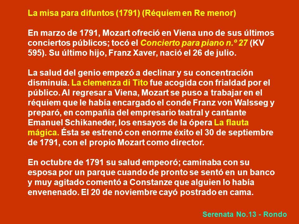 La misa para difuntos (1791) (Réquiem en Re menor)