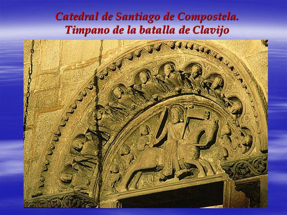 Catedral de Santiago de Compostela. Timpano de la batalla de Clavijo