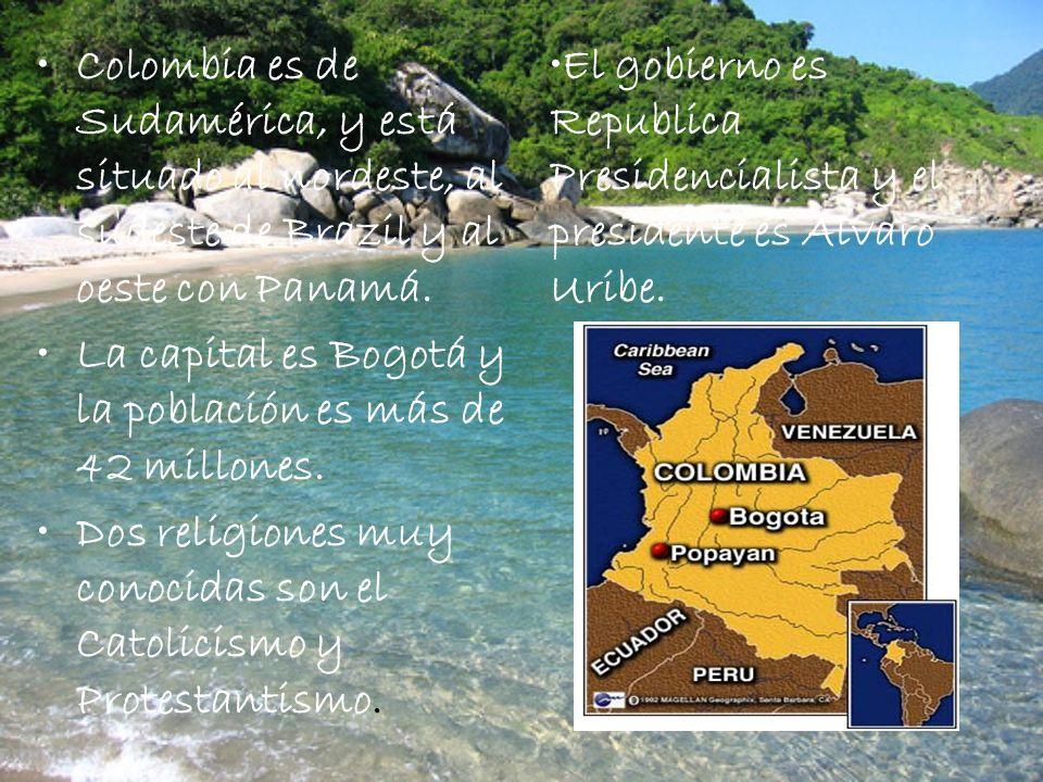 Colombia es de Sudamérica, y está situado al nordeste, al sudeste de Brazil y al oeste con Panamá.