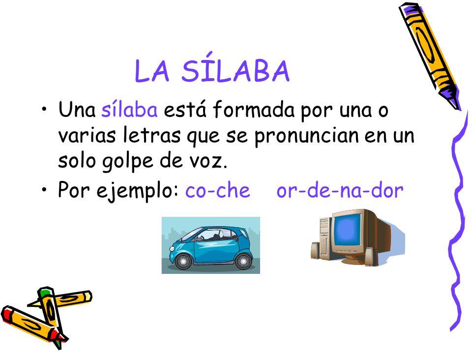 LA SÍLABA Una sílaba está formada por una o varias letras que se pronuncian en un solo golpe de voz.