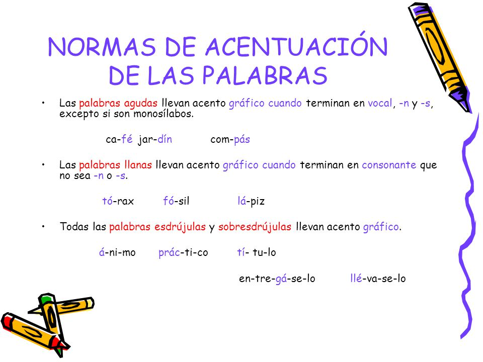 NORMAS DE ACENTUACIÓN DE LAS PALABRAS