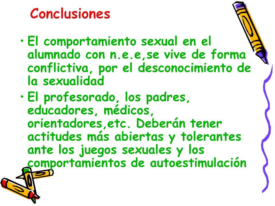 Conclusiones El comportamiento sexual en el alumnado con n.e.e,se vive de forma conflictiva, por el desconocimiento de la sexualidad.