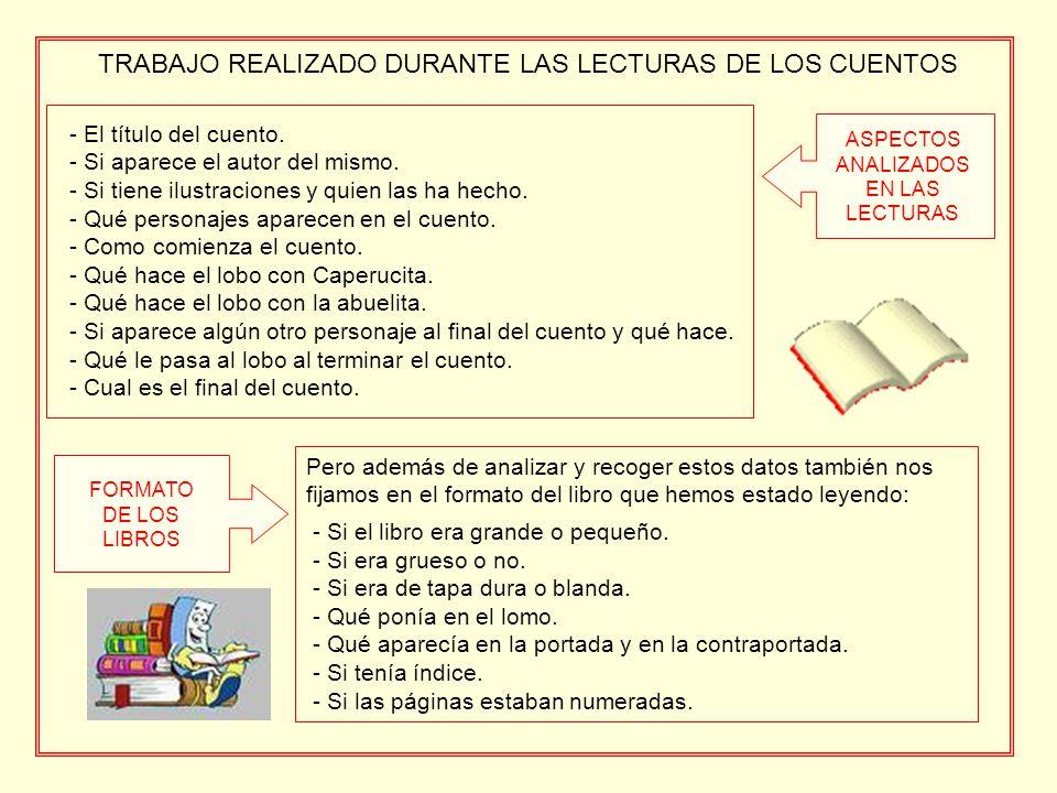 TRABAJO REALIZADO DURANTE LAS LECTURAS DE LOS CUENTOS